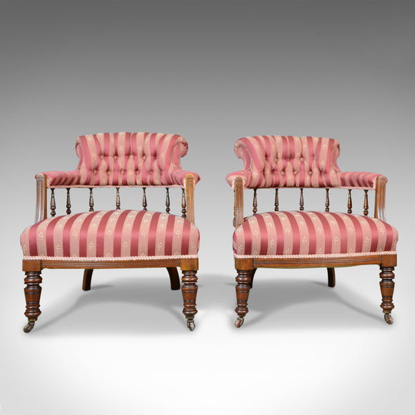Pair of Antique Salon Chairs, English, Edwardian, Scroll Back Armchairs c.1910 - London Fine Antiques