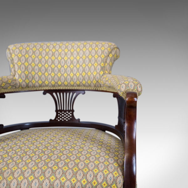 Pair of Antique Salon Chairs, English, Victorian, Scroll Back, Armchairs, c.1870