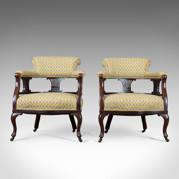 Pair of Antique Salon Chairs, English, Victorian, Scroll Back, Armchairs, c.1870 - London Fine Antiques