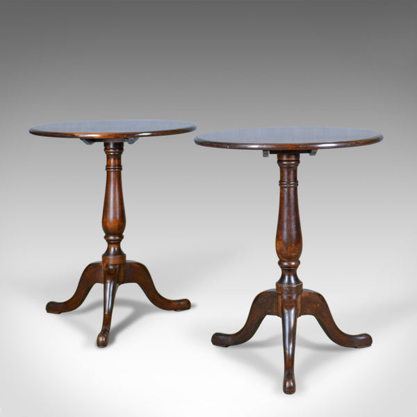 Pair of Antique Tilt-Top Wine Tables, English, Edwardian, Mahogany, Circa 1910 - London Fine Antiques