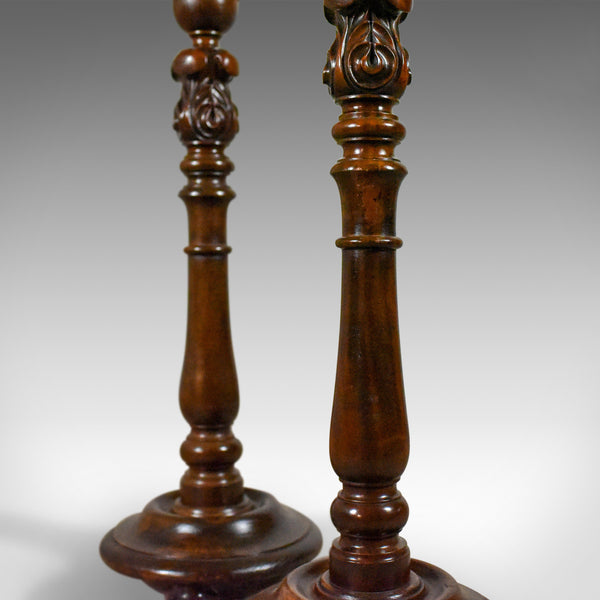Pair of Antique Torcheres, English, Victorian Plant Stands, Elm, Mahogany, c1900