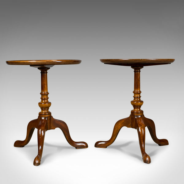 Pair of Antique Wine Tables, English, Edwardian, Mahogany, Tripod, Side c.1910