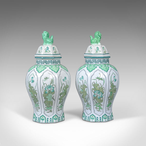 Pair of Decorative Baluster Spice Jars, Porcelain, Vase 20th Century - London Fine Antiques