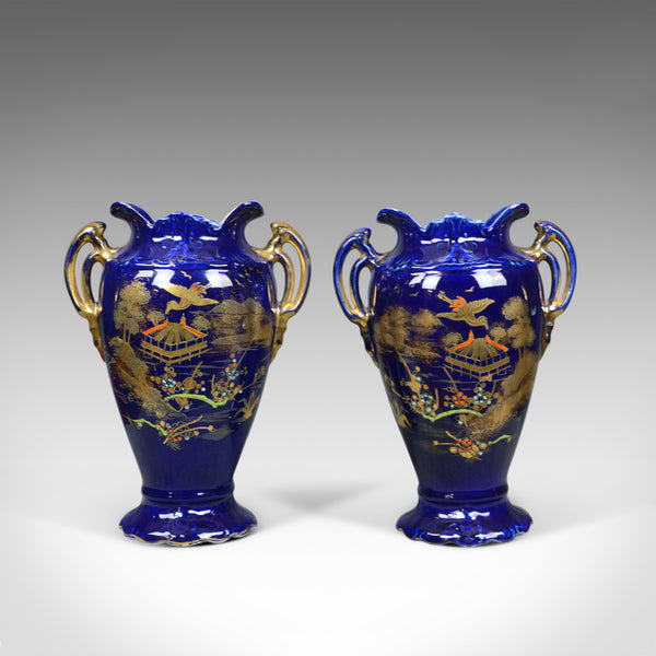 Pair of Decorative Baluster Vases, Ceramic Urns, Gold, Blue, Late 20th Century - London Fine Antiques