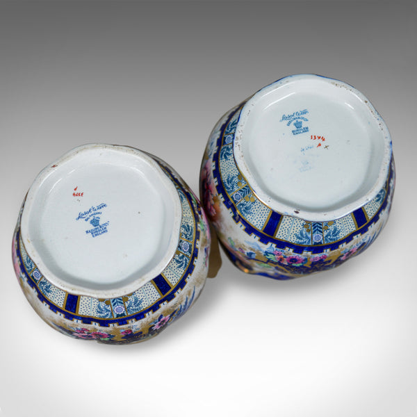 Pair of Decorative Baluster Vases, Losol Ware Ceramic Urns, Keeling and Co.