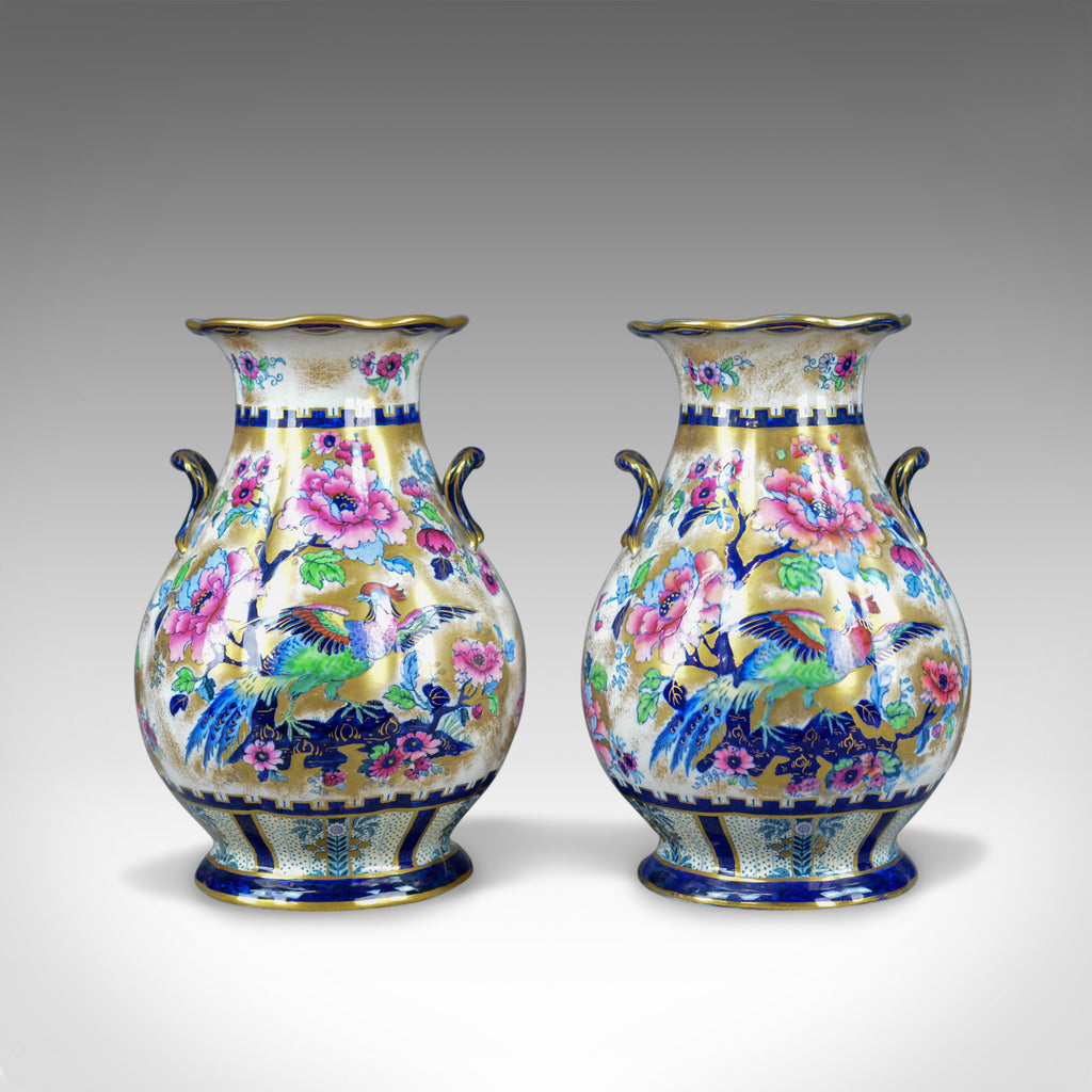 Pair of Decorative Baluster Vases, Losol Ware Ceramic Urns, Keeling and Co. - London Fine Antiques