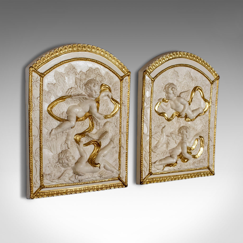 Pair of Decorative Panels, Plaster Reliefs, Putti, Cherubs, Plaques, Late C20th