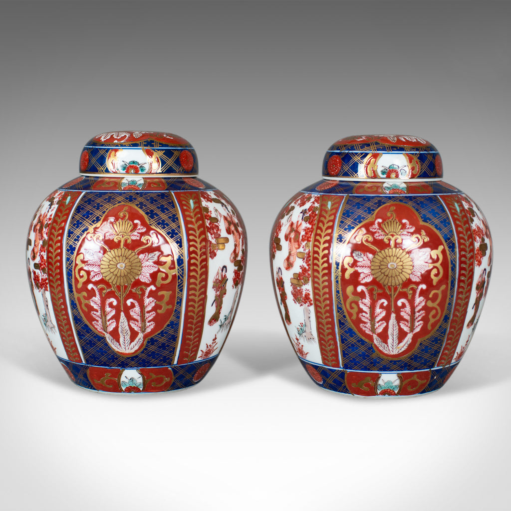 Pair of Imari Ginger Jars, Porcelain Spice Jars, mid-late 20th century - London Fine Antiques