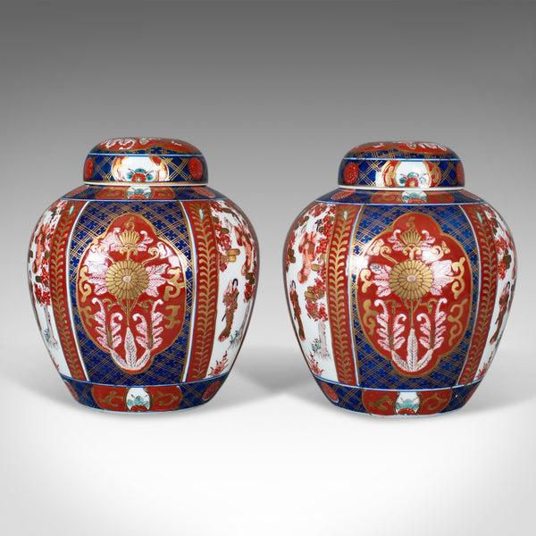 Pair of Imari Ginger Jars, Porcelain Spice Jars, mid-late 20th century