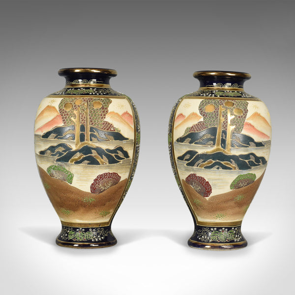 Pair of Japanese Baluster Vases, Ceramic Urns, Late 20th Century - London Fine Antiques