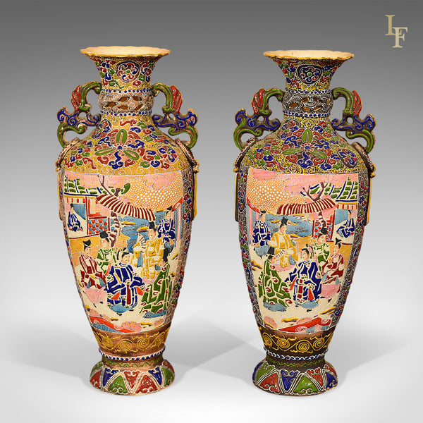 Pair of Antique Vases Japanese Moriage Satsuma - London Fine Antiques
