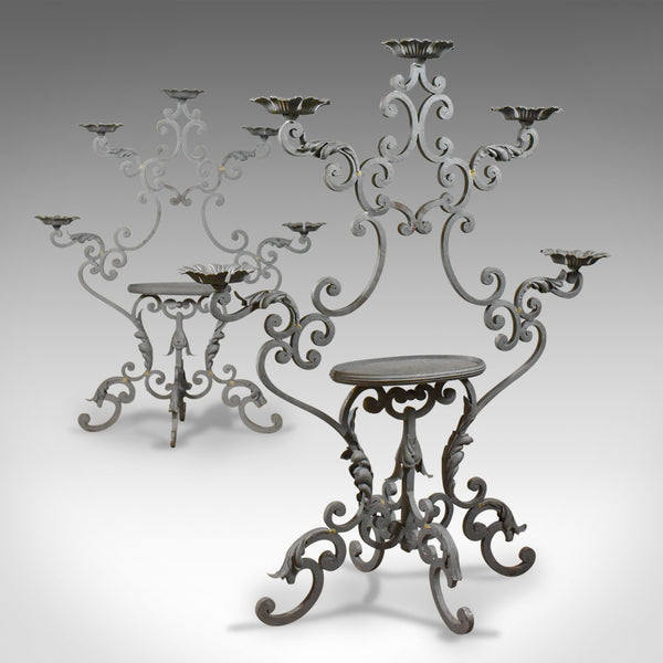 Pair of Large Florist Plant Stands, Church Candle Holder Late 20th Century