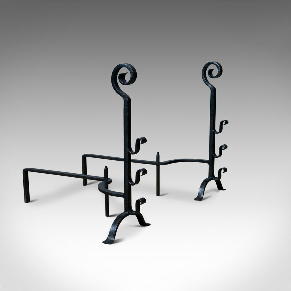 Pair of Large, Gothic, Wrought Iron Fire Dogs, Medieval Revival Andirons C20th