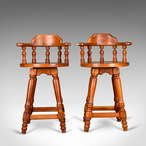 Pair of Large Swivel Bar Stools, Oriental, Tall, Solid, Hardwood Late C20th