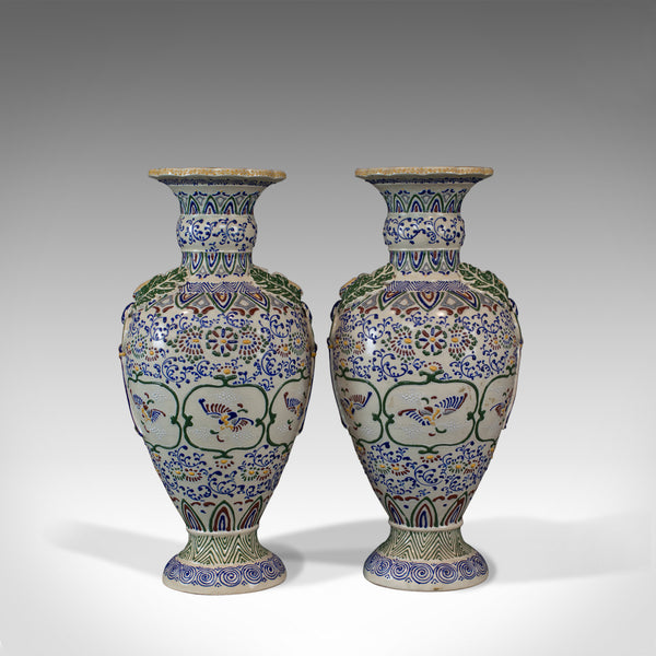 Pair of Large Vintage Baluster Vases, Decorative Ceramic Urns, 20th Century - London Fine Antiques