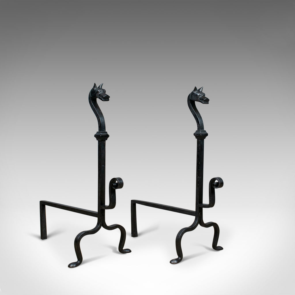 Pair of Large Wrought Iron Firedogs, French, Andirons, Forged, Art Deco C20th
