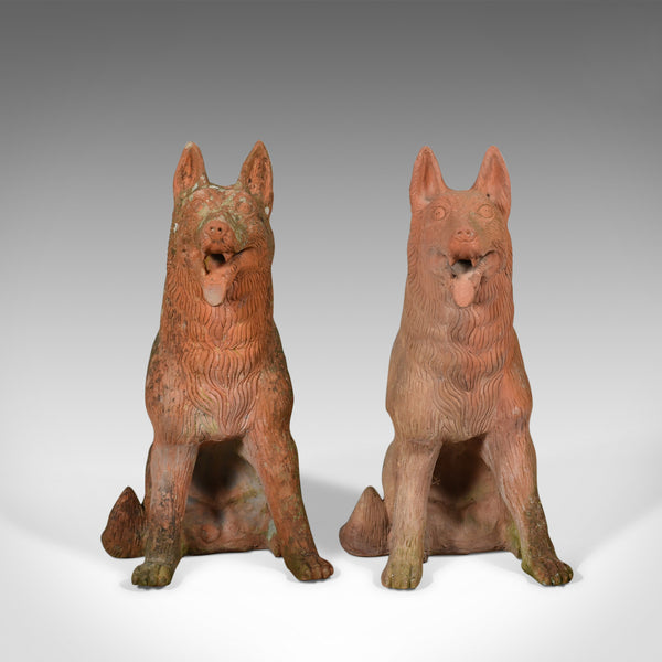 Pair of Life Size Terracotta Alsatian Dogs, German Shepherds, Late C20th