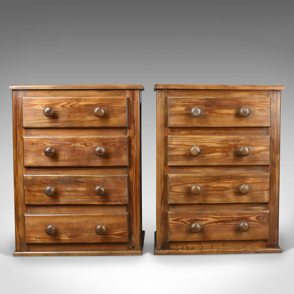 Pair of French Provincial Style Pine, Bedside Cabinets, Chest of Drawers C20th - London Fine Antiques