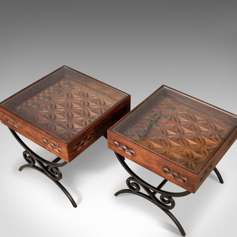 Pair of Vintage Asian Side Tables, Heavy, Carved, Teak, Coffee, Glass Late C20th - London Fine Antiques