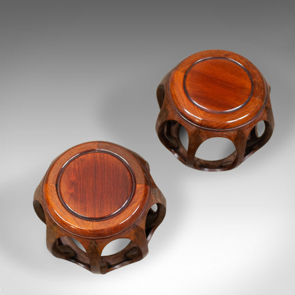 Pair of Vintage Chinese Barrel Side Tables, Huali Rosewood, Stools, C20th - London Fine Antiques
