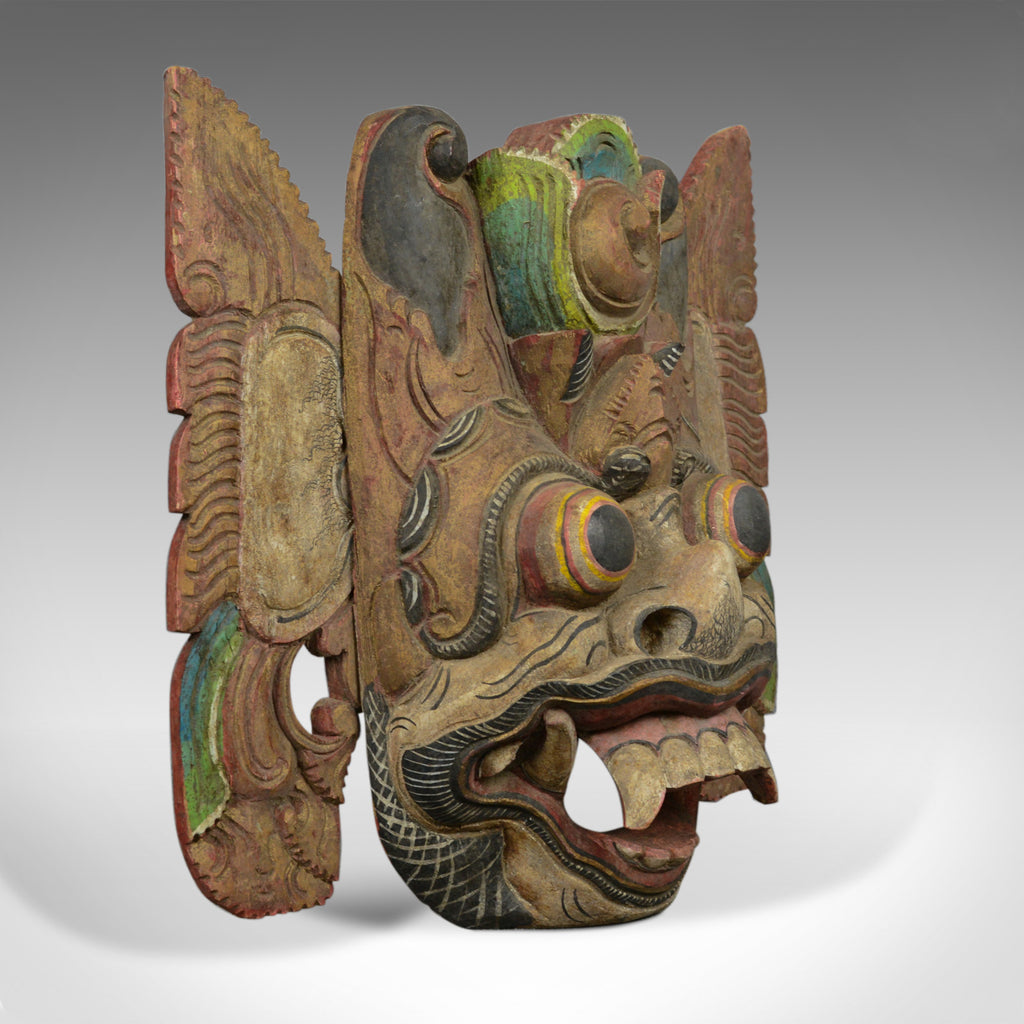 Balinese Barong Carved Mask, Decorative, Painted, Wooden Face, Wall Art, C20th - London Fine Antiques