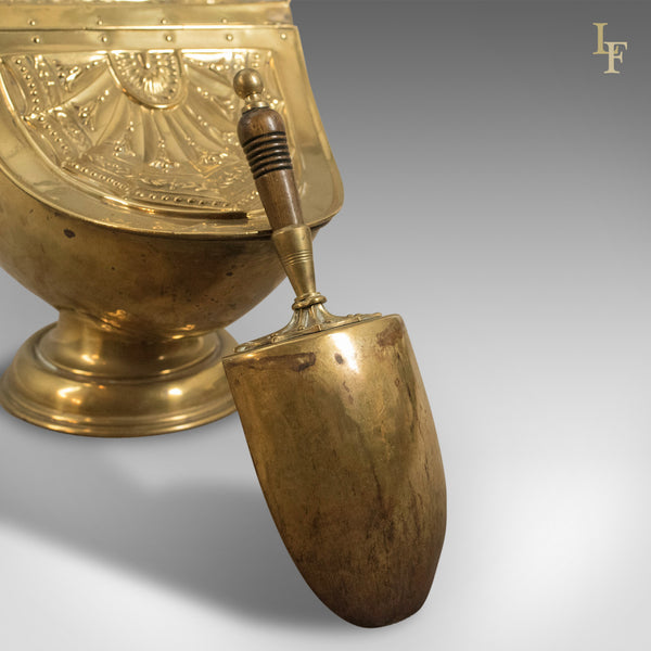 Victorian Coal Scuttle, Brass Fireside Bin with Integral Shovel, English - London Fine Antiques