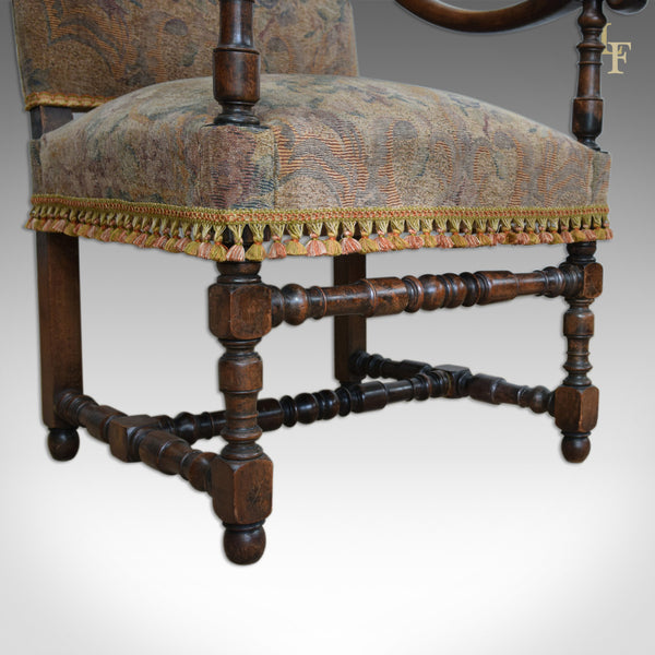 Antique Flemish Armchair, Walnut Frame C.1880 - London Fine Antiques