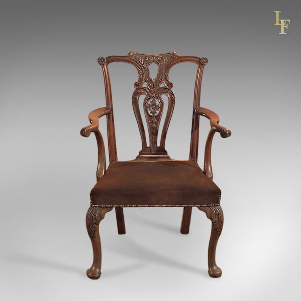 Antique Elbow Chair, 19th Century in Chippendale Taste - London Fine Antiques