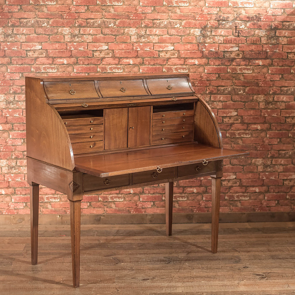Antique Roll Top Desk, George III Writing Table - London Fine Antiques