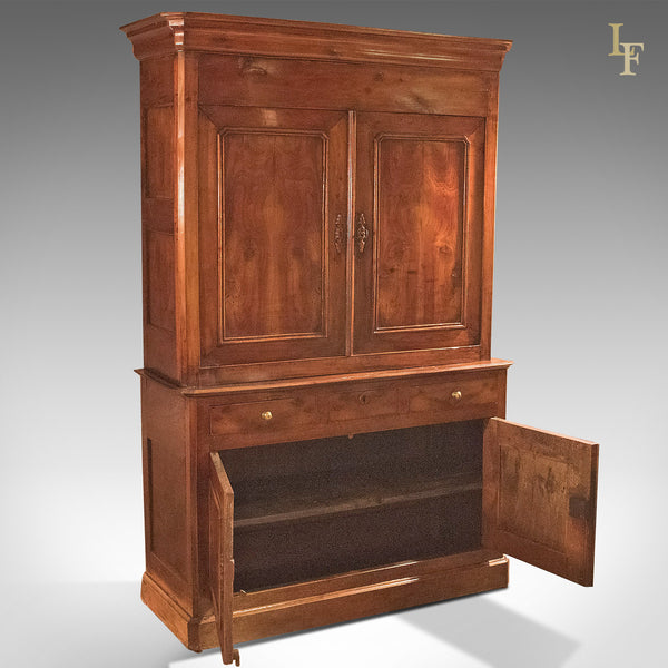 Antique House Keepers Cupboard, French Buffet A Deux Corps, Yew Wood c.1780 - London Fine Antiques