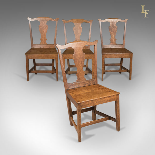 Antique Set of 4 Chairs, English Country Kitchen, Victorian c.1850 - London Fine Antiques