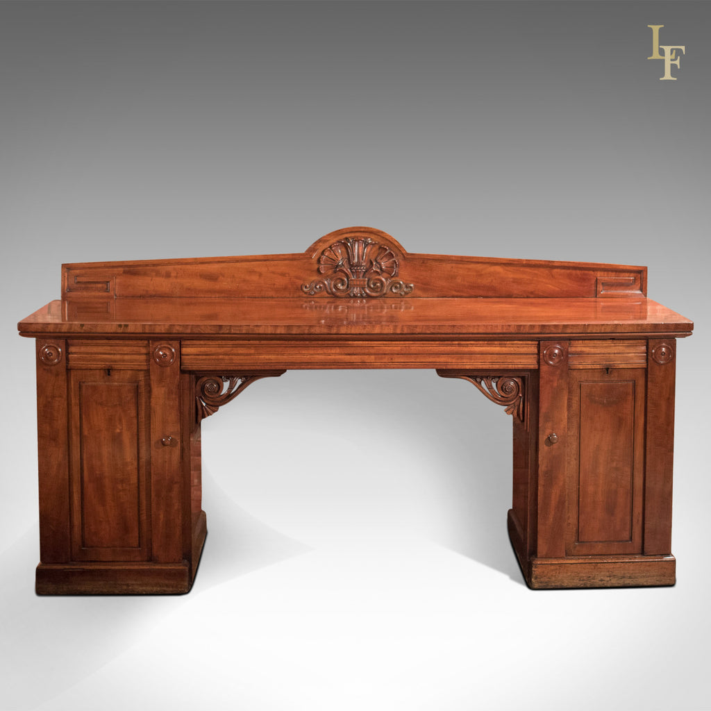 Large William IV Antique Pedestal Sideboard in Mahogany c.1835 - London Fine Antiques
