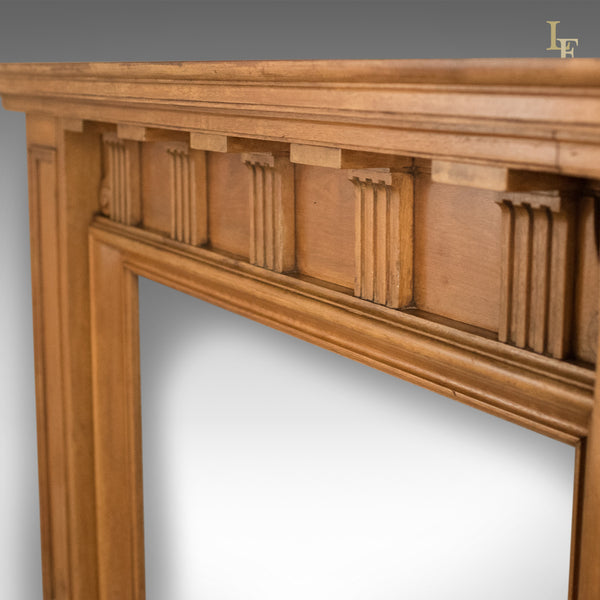 Arts & Crafts Antique Fireplace, Victorian Mantelpiece Fire Surround in Walnut, English c.1900 - London Fine Antiques