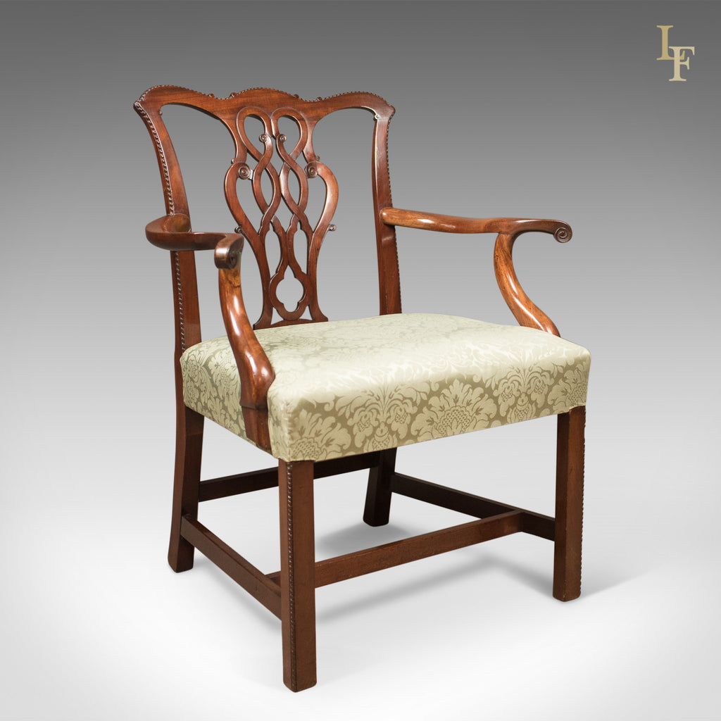 Antique Chair Chippendale Influenced Carver Armchair C