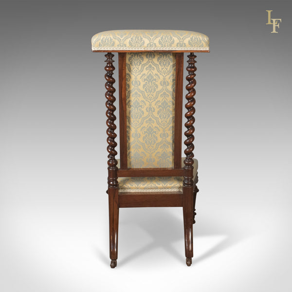 Victorian Antique Chair, Prie Dieu, Rosewood Bedroom Side Chair, c.1870