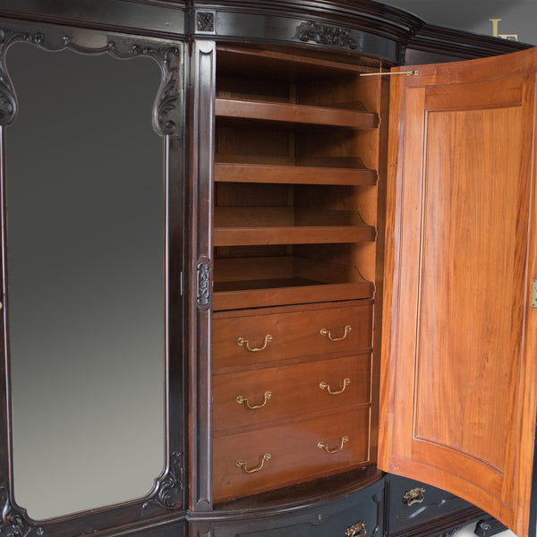Very Large Victorian, English, Antique Wardrobe. Compactum in Mahogany, Mid 19th Century c.1870 - London Fine Antiques