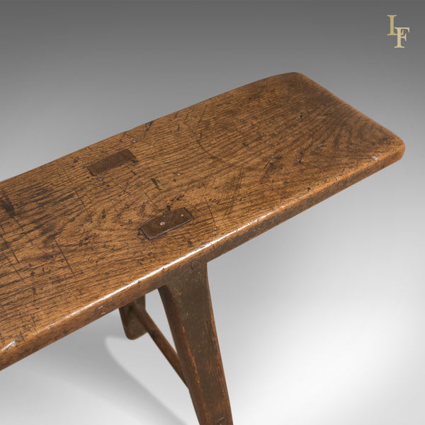 Early 18th Century Antique English Oak Bench, 4 Seater Georgian Form, c.1740 - London Fine Antiques