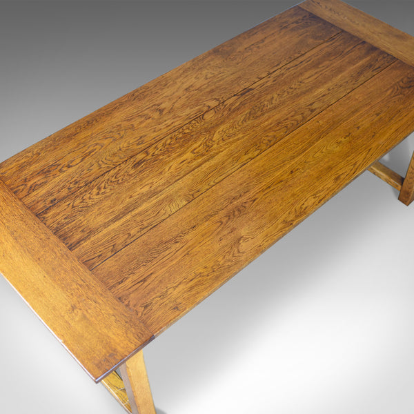 Refectory Dining Table, C20th in C17th Taste, Oak, Seating 6-8, Country Kitchen