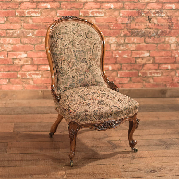 Chairs & Seating-Regency Antique Chair, English Walnut c1820 - 5