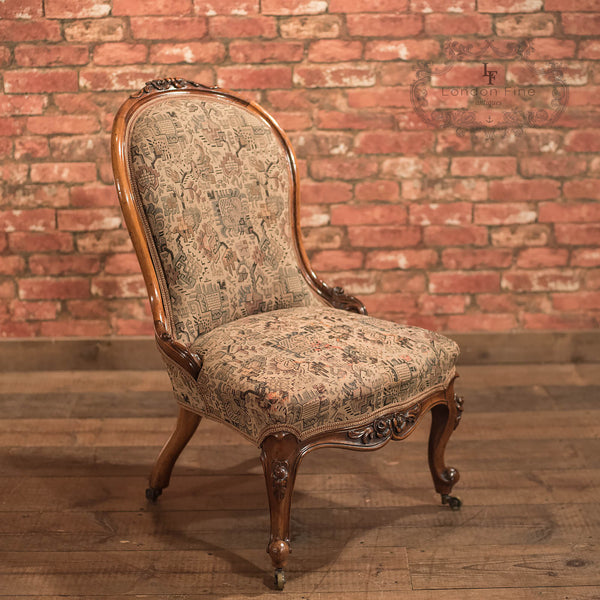 Chairs & Seating-Regency Antique Chair, English Walnut c1820 - 1