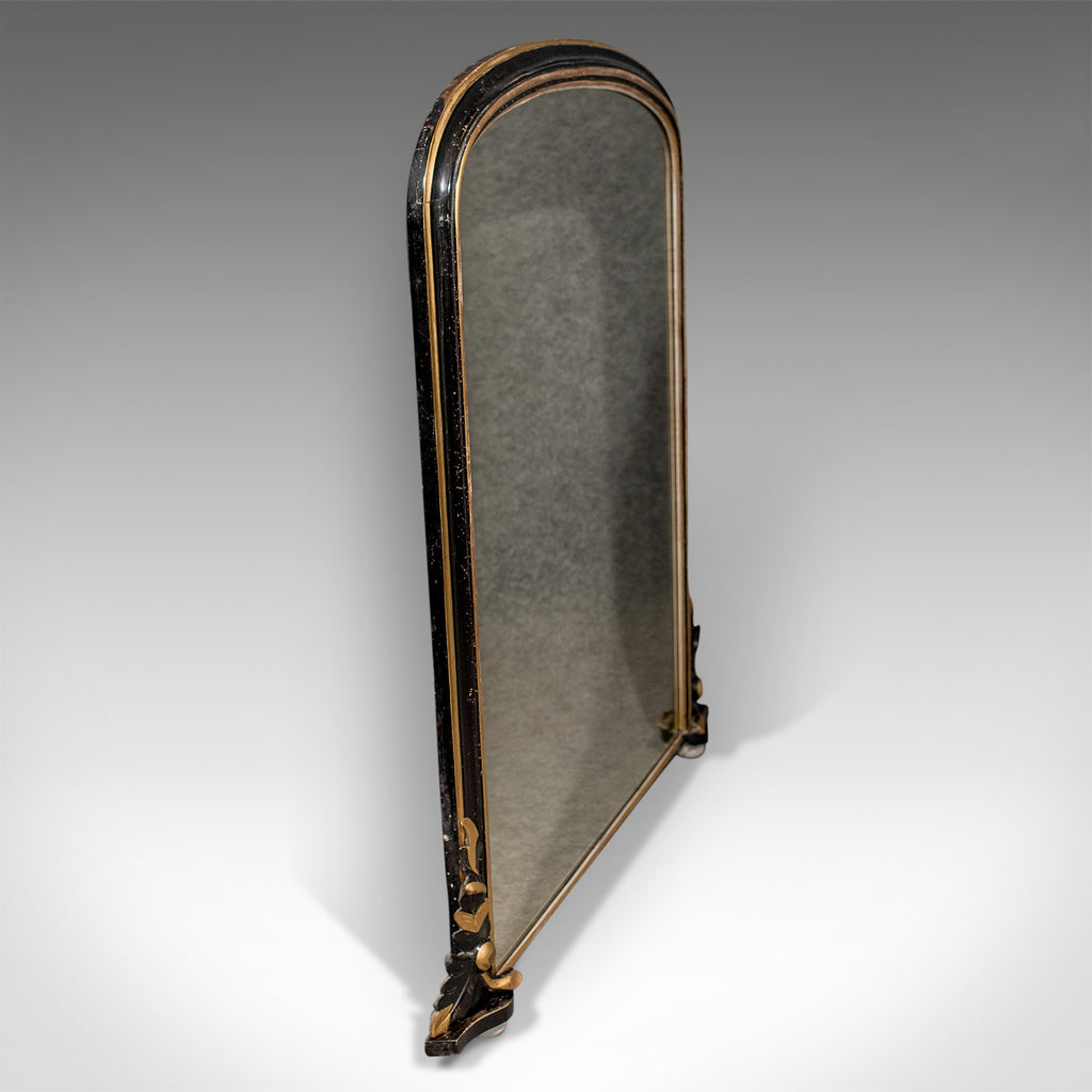 Regency Antique Overmantle Mirror In Ebonised Giltwood
