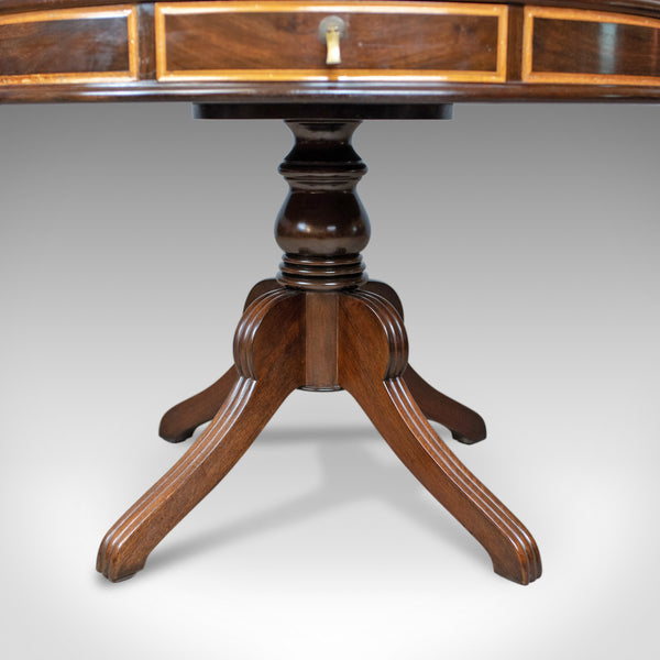 Regency Revival Drum Table, Mahogany, English, C20th, Centre, Side, Library