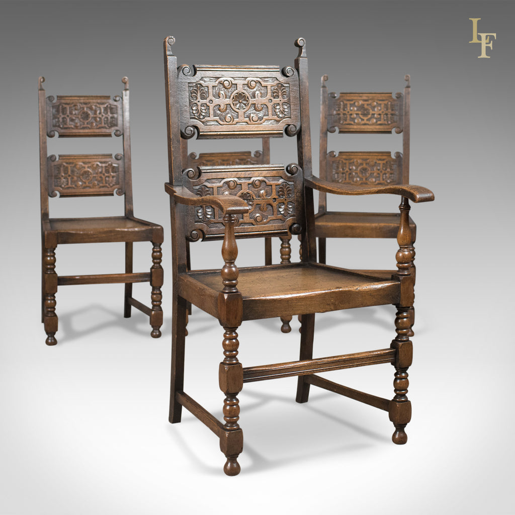Scottish Set of 4 Antique Dining Chairs, Oak, Victorian c.1900