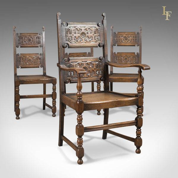 Scottish Set of 4 Antique Dining Chairs, Oak, Victorian c.1900 - London Fine Antiques