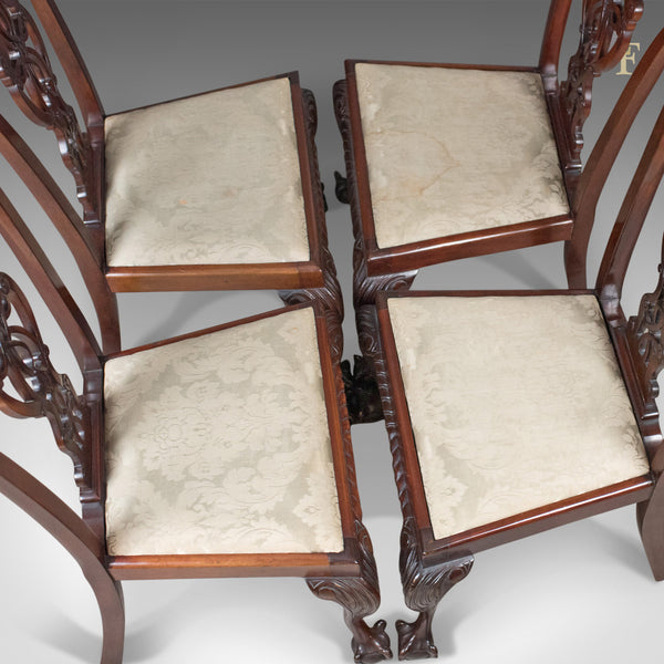 Set of 4 Antique Dining Chairs, Victorian Chippendale Revival, c.1890 - London Fine Antiques