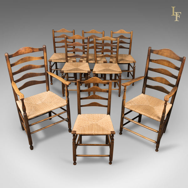 Set of 8 Antique Dining Chairs, English, Ladderbacks, Shaker c.1850 - London Fine Antiques