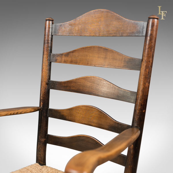 Set of 8 Antique Dining Chairs, English, Ladderbacks, Shaker c.1850