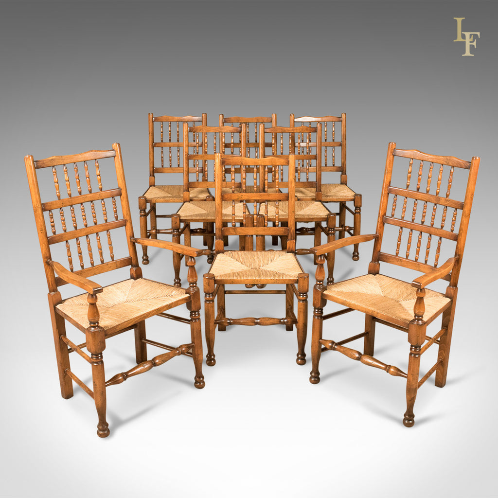 Set of 8 Dining Chairs, Lancashire Spindleback, English, Quality C20th