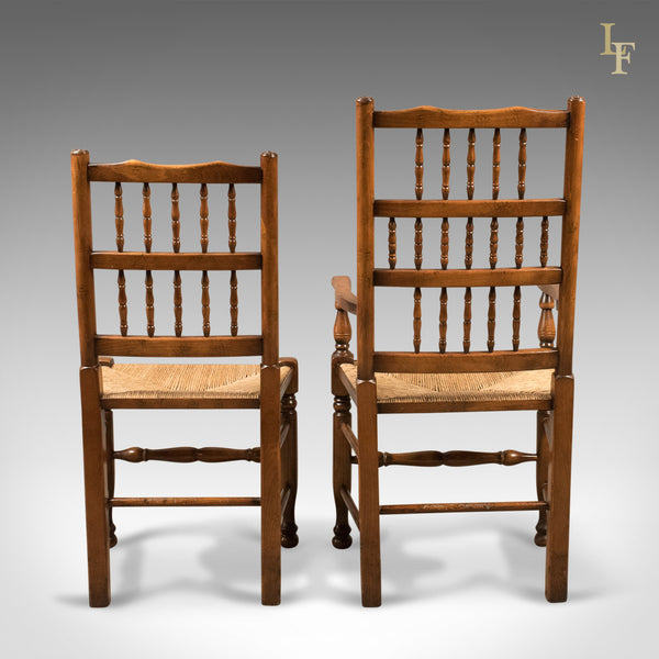 Set of 8 Dining Chairs, Lancashire Spindleback, English, Quality C20th - London Fine Antiques