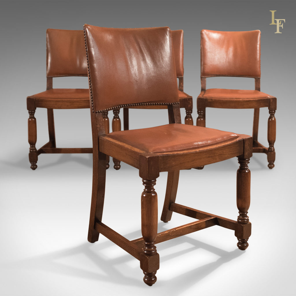 Set Of Four Antique Dining Chairs, Edwardian Oak And Leather C.1910   London